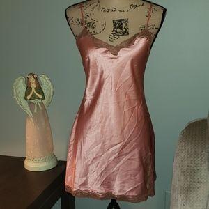 Victoria's Secret Satin Mauve Taupe Lace Chemise